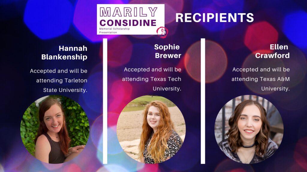 2020 Marily Considine Scholarship Recipients